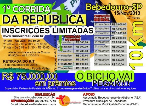 Panfleto 1ª Corrida da República 10 KM Bebedouro-SP Atualizado Menor